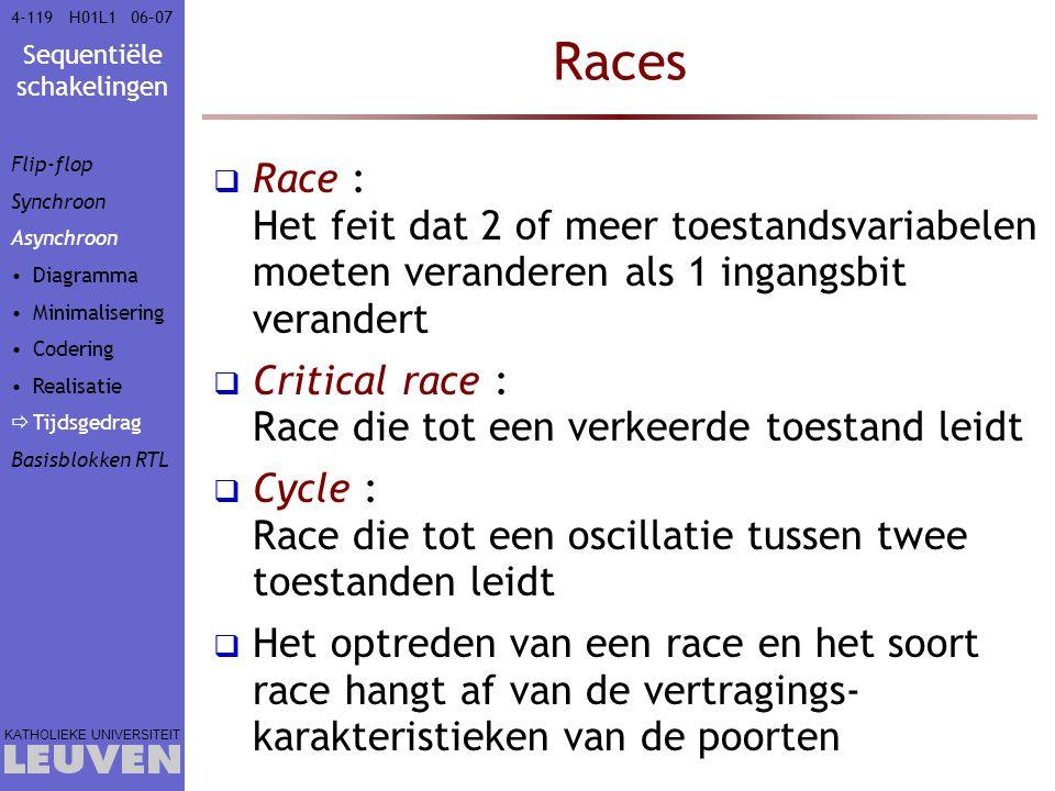 Sequentiële schakelingen KATHOLIEKE UNIVERSITEIT 4-11906–07H01L1 Races  Race : Het feit dat 2 of meer toestandsvariabelen moeten veranderen als 1 ing