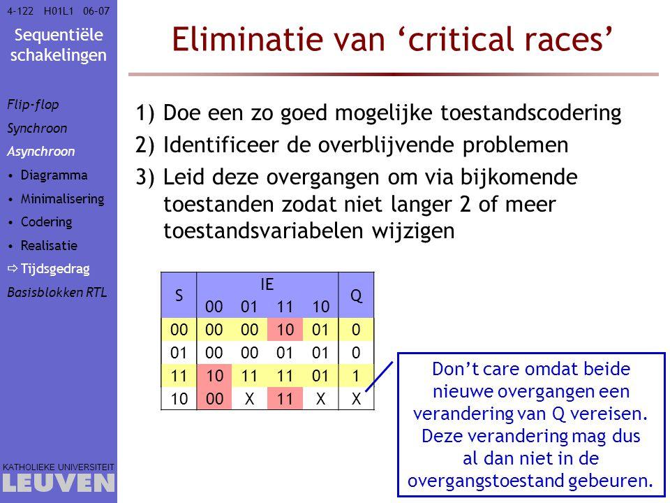 Sequentiële schakelingen KATHOLIEKE UNIVERSITEIT 4-12206–07H01L1 Eliminatie van 'critical races' 1)Doe een zo goed mogelijke toestandscodering 2)Ident