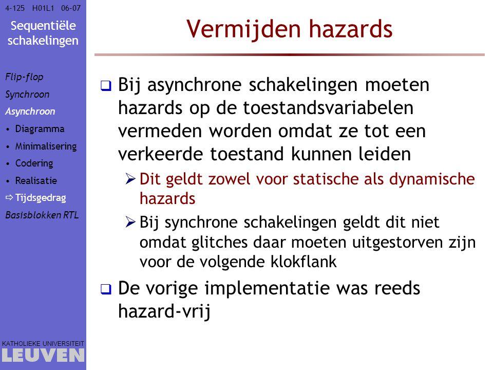 Sequentiële schakelingen KATHOLIEKE UNIVERSITEIT 4-12506–07H01L1 Vermijden hazards  Bij asynchrone schakelingen moeten hazards op de toestandsvariabe
