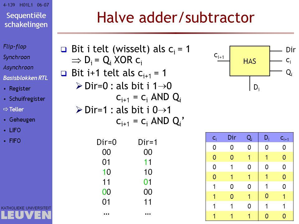 Sequentiële schakelingen KATHOLIEKE UNIVERSITEIT 4-13906–07H01L1 Halve adder/subtractor HAS Dir cici QiQi DiDi c i+1 Dir=0 00 01 10 110 01 … Dir=1 001
