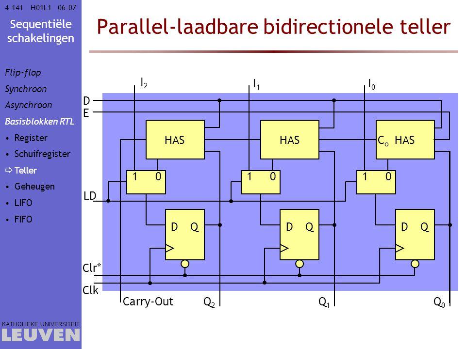 Sequentiële schakelingen KATHOLIEKE UNIVERSITEIT 4-14106–07H01L1 Parallel-laadbare bidirectionele teller Clk Q1Q1 Clr* DQ Q2Q2 Carry-Out E HAS D CoCo