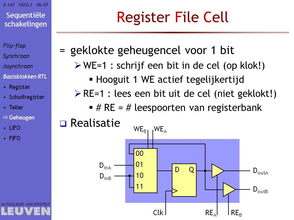 Sequentiële schakelingen KATHOLIEKE UNIVERSITEIT 4-14706–07H01L1 Register File Cell =geklokte geheugencel voor 1 bit  WE=1 : schrijf een bit in de ce