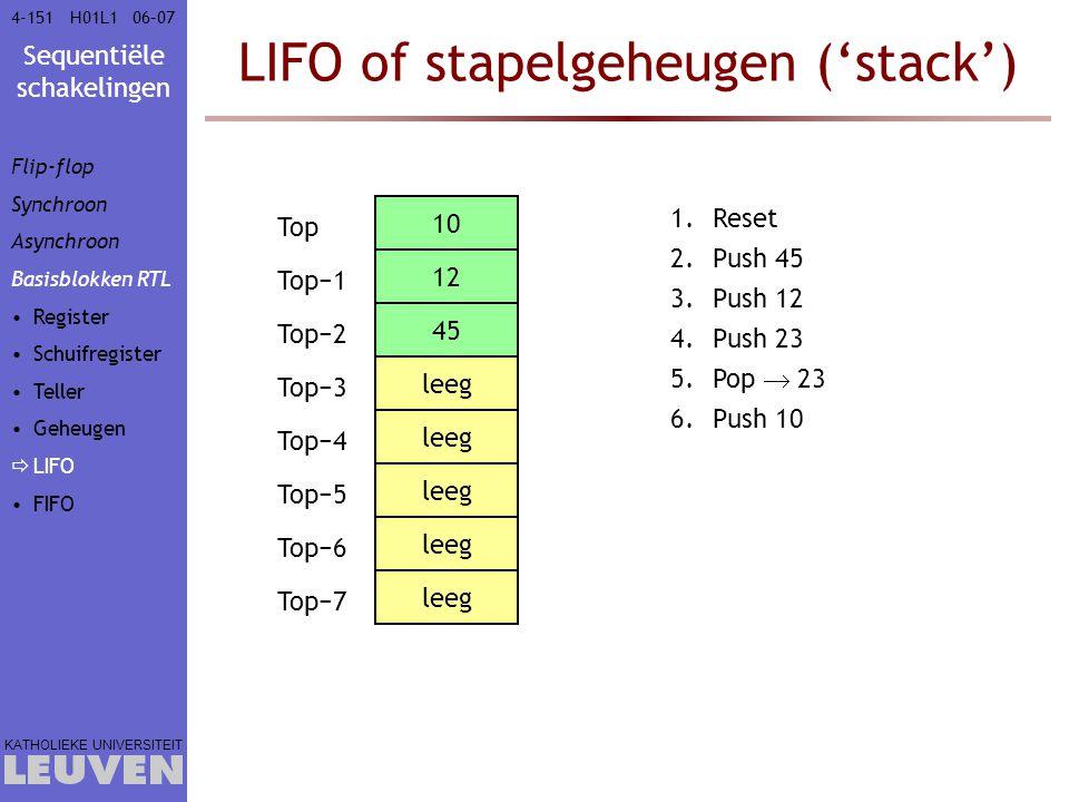 Sequentiële schakelingen KATHOLIEKE UNIVERSITEIT 4-15106–07H01L1 LIFO of stapelgeheugen ('stack') Top Top−1 Top−2 Top−3 Top−4 Top−5 Top−6 Top−7 leeg 4