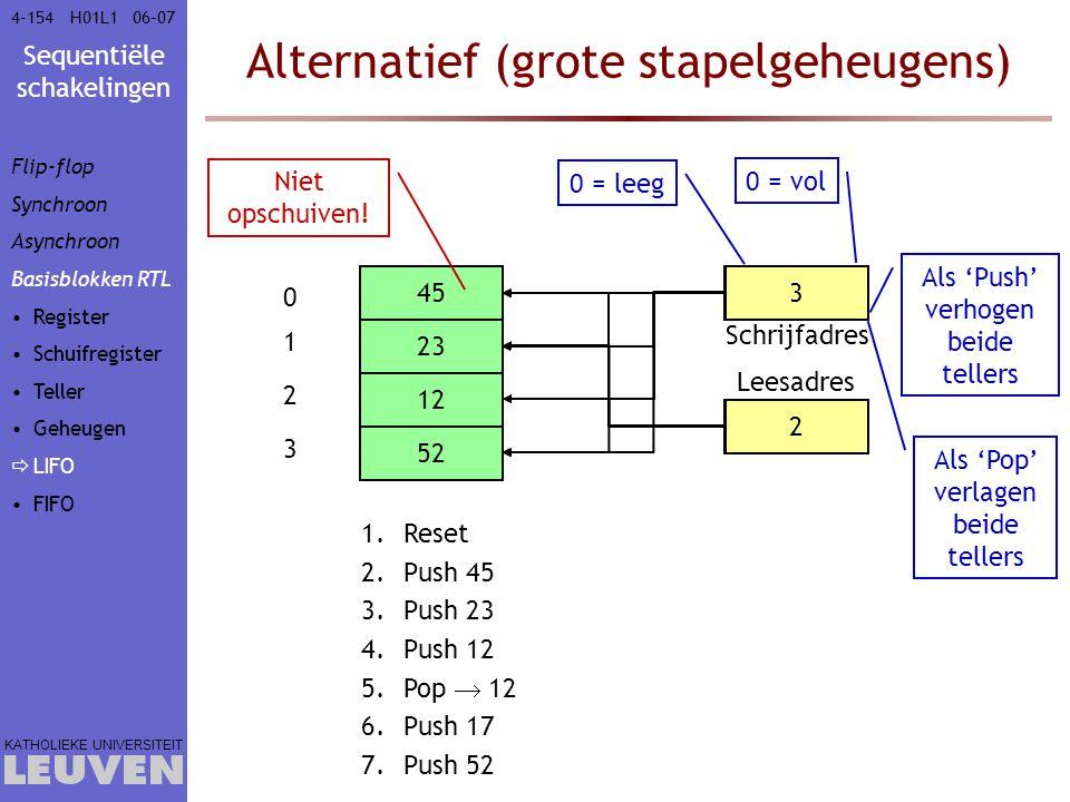 Sequentiële schakelingen KATHOLIEKE UNIVERSITEIT 4-15406–07H01L1 Alternatief (grote stapelgeheugens) 0 1 2 3 Schrijfadres Leesadres Als 'Pop' verlagen