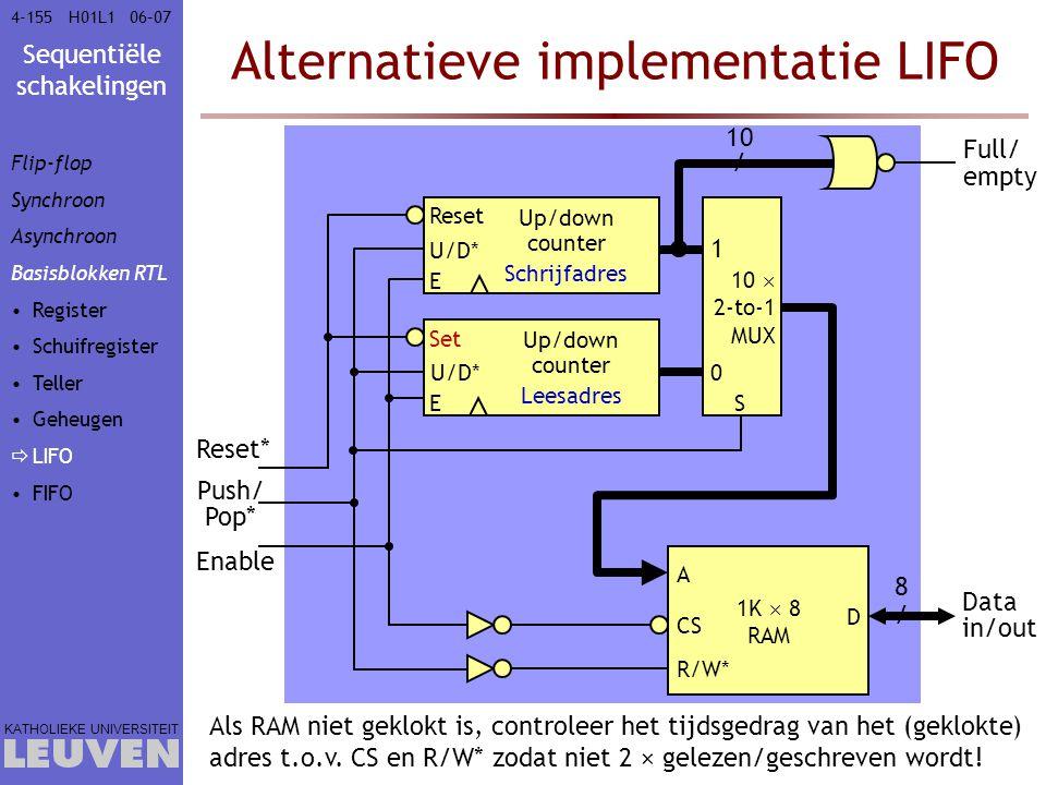 Sequentiële schakelingen KATHOLIEKE UNIVERSITEIT 4-15506–07H01L1 Alternatieve implementatie LIFO Reset U/D* E Up/down counter Schrijfadres Set U/D* E
