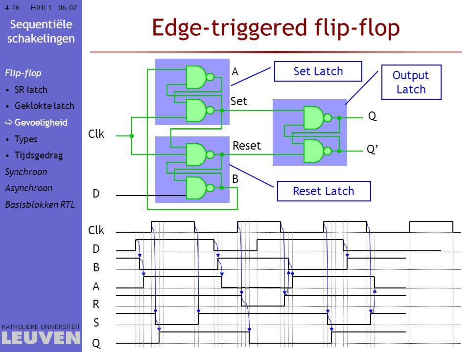 Sequentiële schakelingen KATHOLIEKE UNIVERSITEIT 4-1606–07H01L1 Edge-triggered flip-flop Clk D Reset A Set B Q Q' Clk D B A R S Q Set Latch Reset Latc