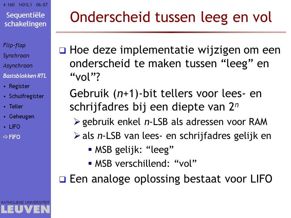 Sequentiële schakelingen KATHOLIEKE UNIVERSITEIT 4-16006–07H01L1 Onderscheid tussen leeg en vol  Hoe deze implementatie wijzigen om een onderscheid t