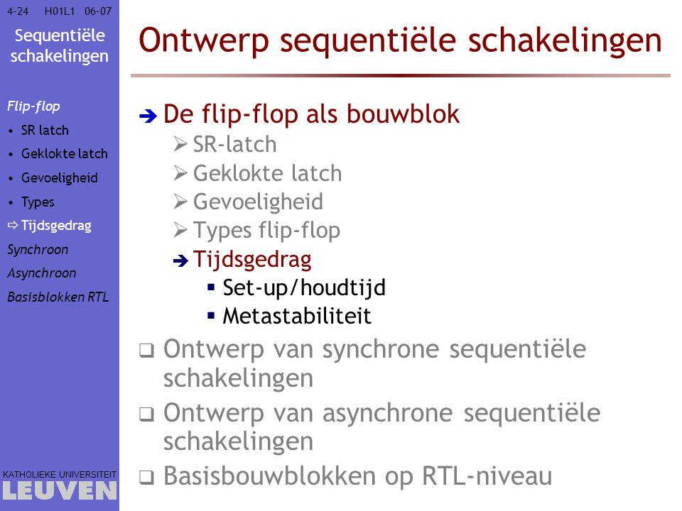 Sequentiële schakelingen KATHOLIEKE UNIVERSITEIT 4-2406–07H01L1 Ontwerp sequentiële schakelingen  De flip-flop als bouwblok  SR-latch  Geklokte lat