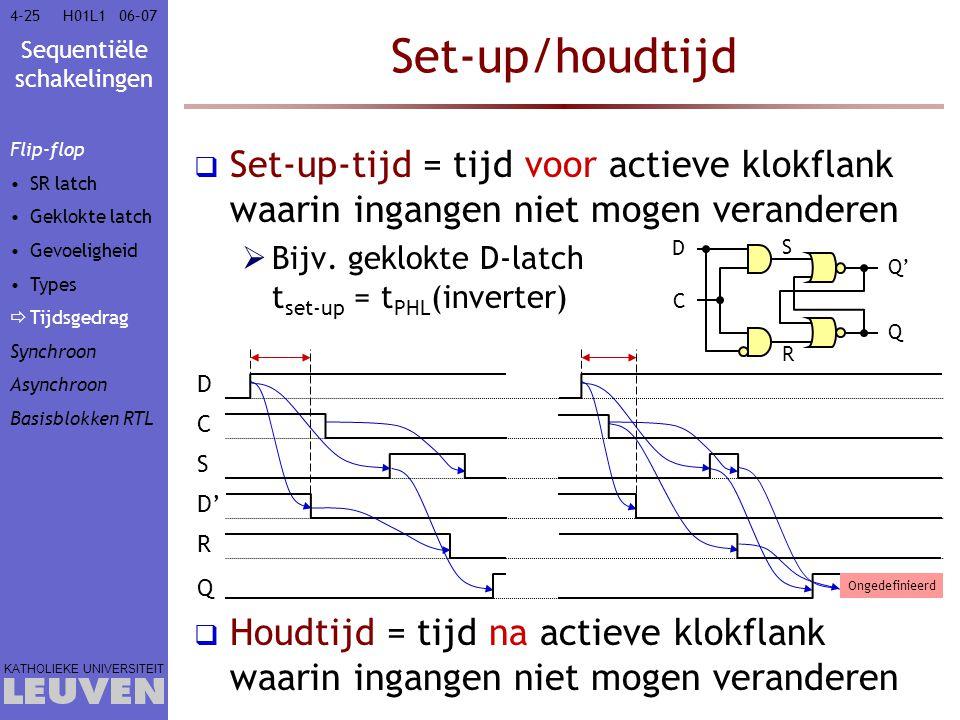 Sequentiële schakelingen KATHOLIEKE UNIVERSITEIT 4-2506–07H01L1 Set-up/houdtijd  Set-up-tijd = tijd voor actieve klokflank waarin ingangen niet mogen