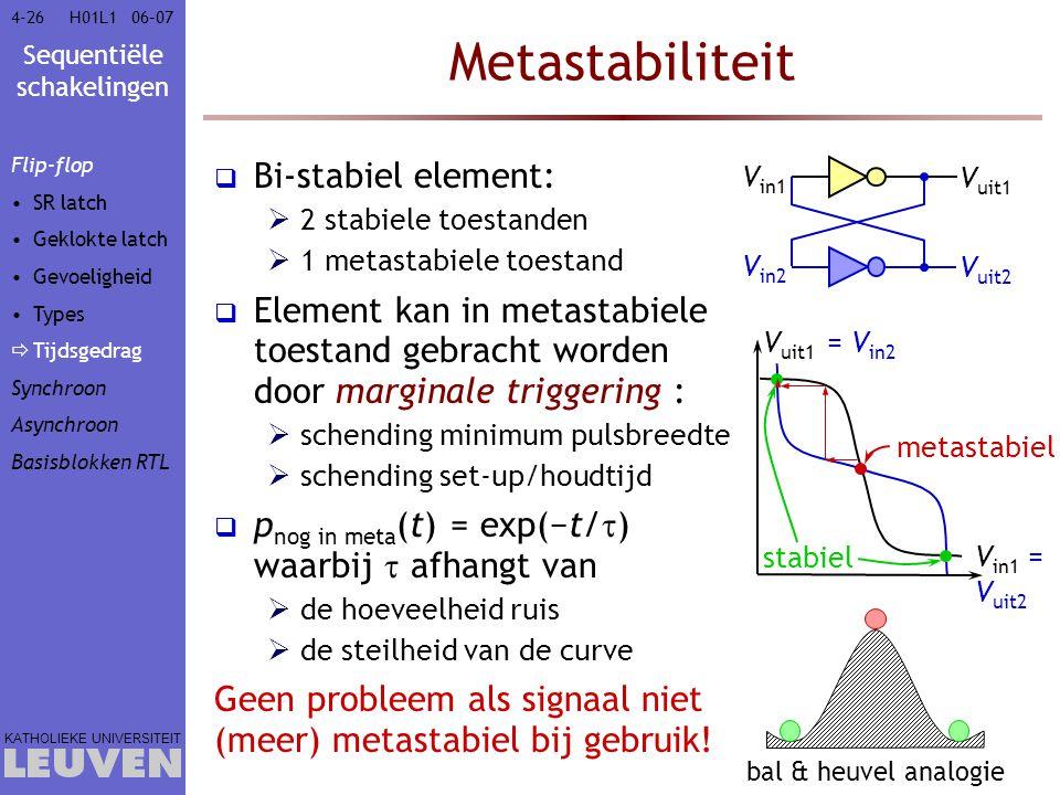 Sequentiële schakelingen KATHOLIEKE UNIVERSITEIT 4-2606–07H01L1 Metastabiliteit  Bi-stabiel element:  2 stabiele toestanden  1 metastabiele toestan