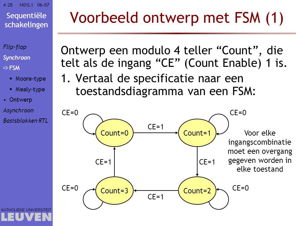 """Sequentiële schakelingen KATHOLIEKE UNIVERSITEIT 4-2806–07H01L1 Voorbeeld ontwerp met FSM (1) Ontwerp een modulo 4 teller """"Count"""", die telt als de ing"""