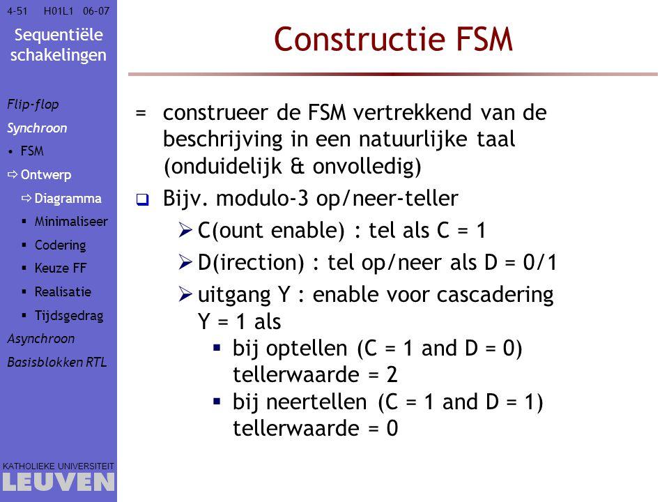 Sequentiële schakelingen KATHOLIEKE UNIVERSITEIT 4-5106–07H01L1 Constructie FSM =construeer de FSM vertrekkend van de beschrijving in een natuurlijke