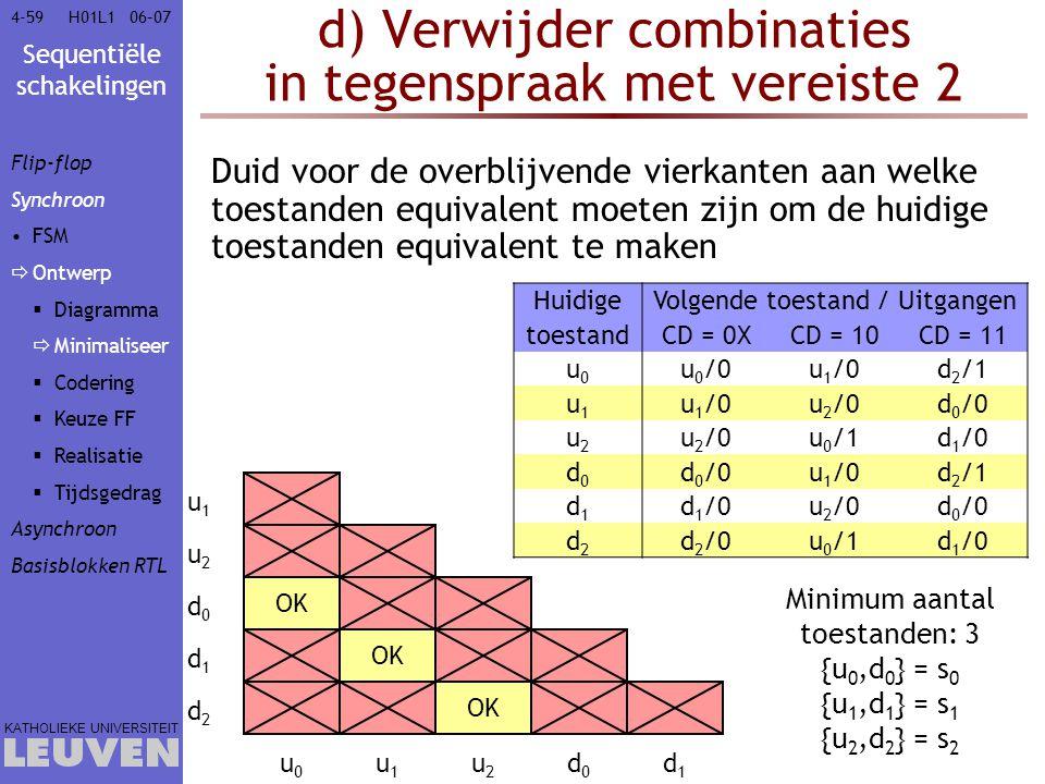 Sequentiële schakelingen KATHOLIEKE UNIVERSITEIT 4-5906–07H01L1 OK d) Verwijder combinaties in tegenspraak met vereiste 2 Duid voor de overblijvende v