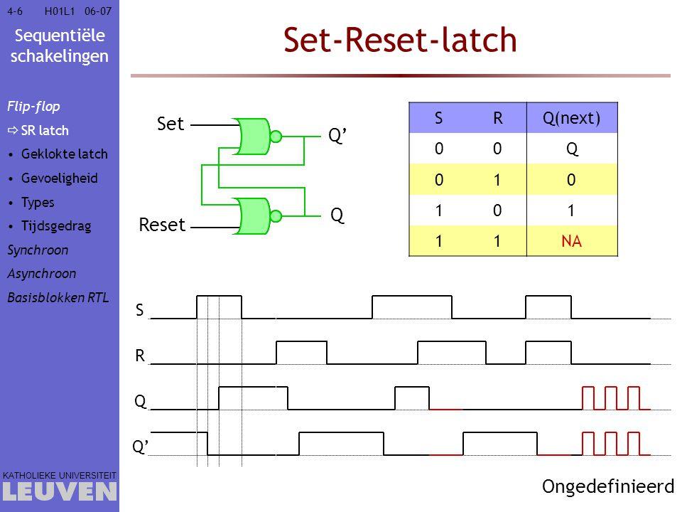 Sequentiële schakelingen KATHOLIEKE UNIVERSITEIT 4-74-706–07H01L1 'Critical race' =uiteindelijke waarde afhankelijk van de implementatie en de poortvertragingen  ongedefinieerde waarde  Oscillatie wanneer vertraging van poorten identiek  Anders bepaalt de snelste poort de uiteindelijke waarde  Een Booleaans signaal kan dus reeds 5 waarden aannemen:  0 : het logisch niveau 0  1 : het logisch niveau 1  Z : hoog-impedant (zwevend)  X : don't care  U : ongedefinieerd Flip-flop  SR latch Geklokte latch Gevoeligheid Types Tijdsgedrag Synchroon Asynchroon Basisblokken RTL