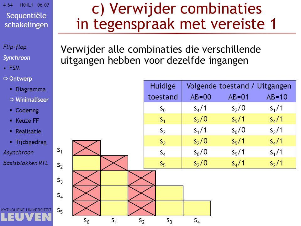 Sequentiële schakelingen KATHOLIEKE UNIVERSITEIT 4-6406–07H01L1 c) Verwijder combinaties in tegenspraak met vereiste 1 Verwijder alle combinaties die