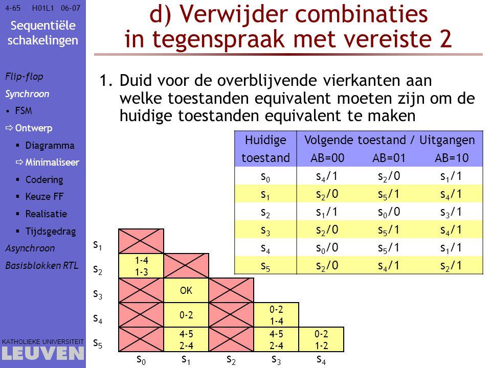 Sequentiële schakelingen KATHOLIEKE UNIVERSITEIT 4-6506–07H01L1 1-4 1-3 4-5 2-4 4-5 2-4 0-2 1-2 0-2 1-4 OK d) Verwijder combinaties in tegenspraak met
