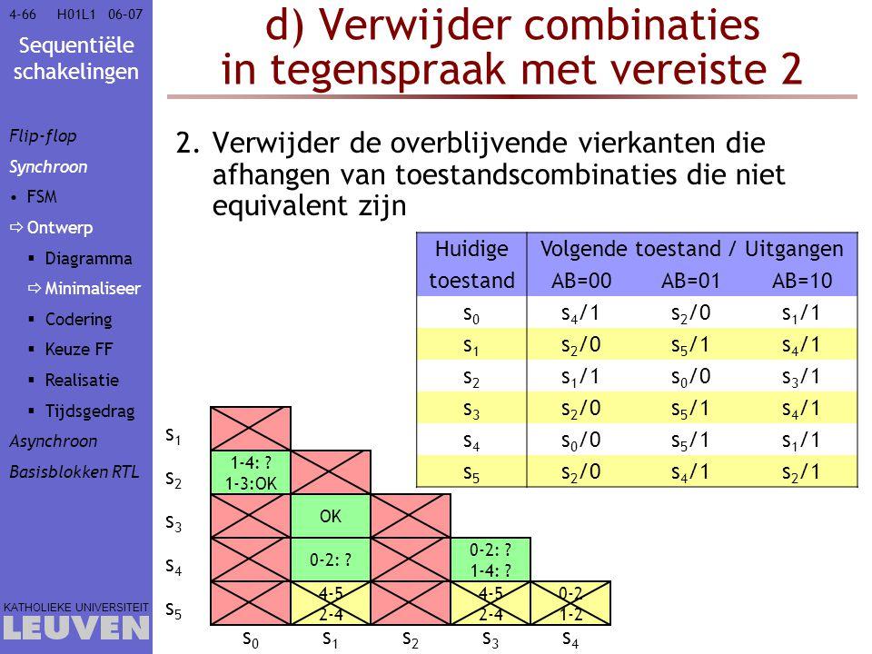 Sequentiële schakelingen KATHOLIEKE UNIVERSITEIT 4-6606–07H01L1 d) Verwijder combinaties in tegenspraak met vereiste 2 2.Verwijder de overblijvende vi