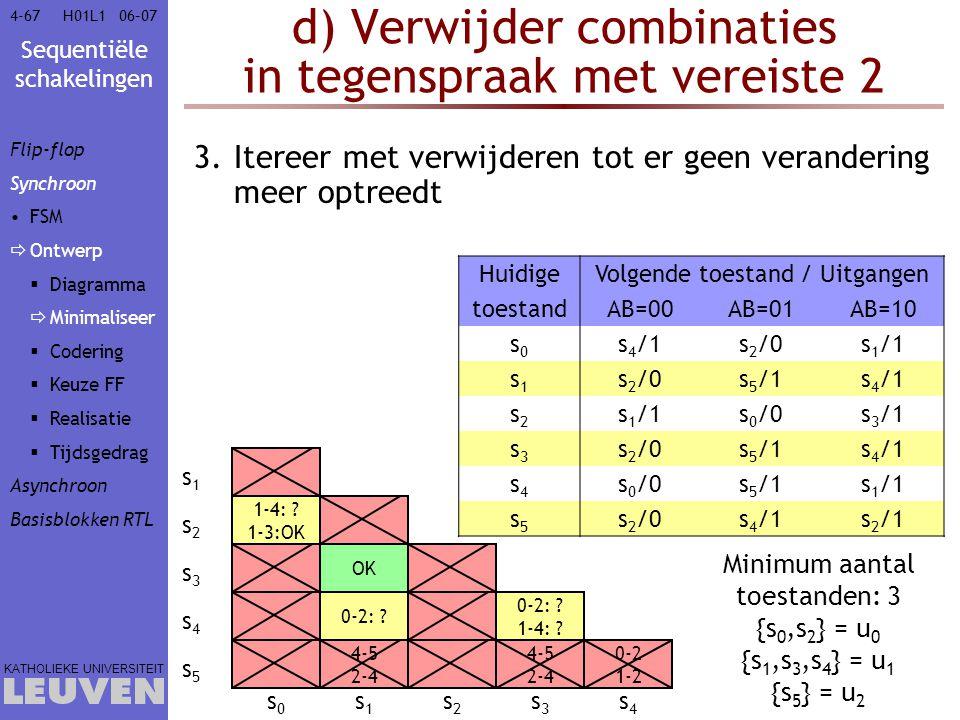 Sequentiële schakelingen KATHOLIEKE UNIVERSITEIT 4-6706–07H01L1 d) Verwijder combinaties in tegenspraak met vereiste 2 3.Itereer met verwijderen tot e