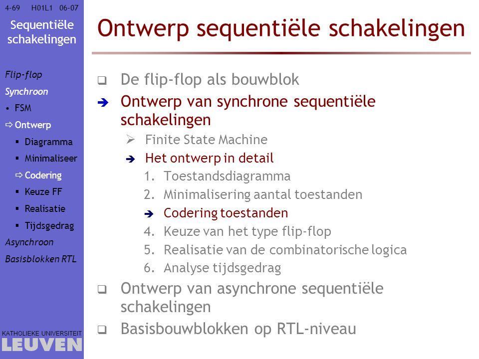 Sequentiële schakelingen KATHOLIEKE UNIVERSITEIT 4-6906–07H01L1 Ontwerp sequentiële schakelingen  De flip-flop als bouwblok  Ontwerp van synchrone s
