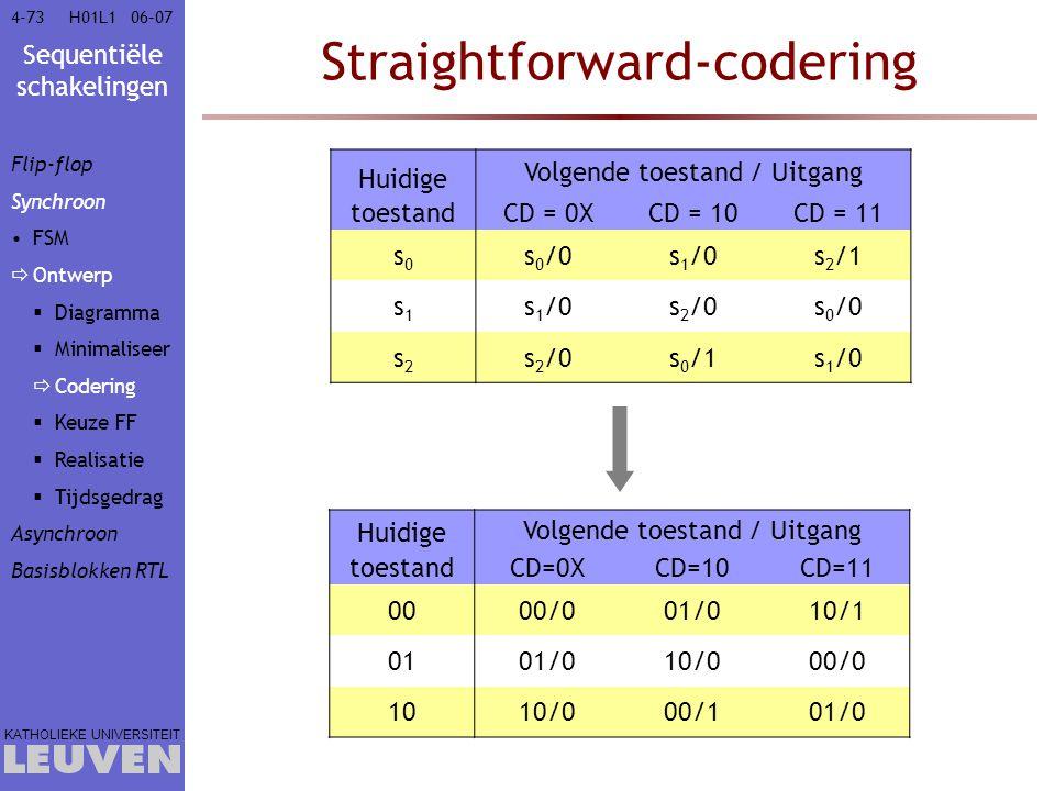 Sequentiële schakelingen KATHOLIEKE UNIVERSITEIT 4-7306–07H01L1 Straightforward-codering Huidige Volgende toestand / Uitgang toestandCD = 0XCD = 10CD