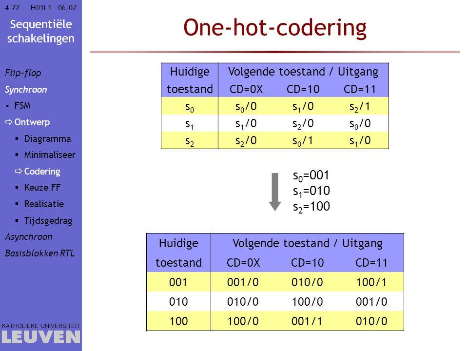 Sequentiële schakelingen KATHOLIEKE UNIVERSITEIT 4-7706–07H01L1 One-hot-codering s 0 =001 s 1 =010 s 2 =100 HuidigeVolgende toestand / Uitgang toestan
