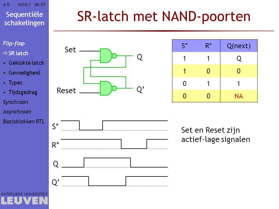Sequentiële schakelingen KATHOLIEKE UNIVERSITEIT 4-8906–07H01L1 Realisatie met SR-FF's Bepaal de excitatiefuncties voor FF 1 S1S1 Q0Q0 Q1Q1 C D R1R1 Q0Q0 Q1Q1 C D 00XX 00XX 10X0 01X0 XXX0 XXX0 0XX1 X0X1 HuidigeVolgende toestand / Uitgang toestandCD=0XCD=10CD=11 000/001/010/1 010101/010/000/0 101010/000/101/0 QQ(next)SR 000X 0110 1001 11X0 Excitatietabel SR-FF Flip-flop Synchroon FSM  Ontwerp  Diagramma  Minimaliseer  Codering  Keuze FF  Realisatie  Tijdsgedrag Asynchroon Basisblokken RTL