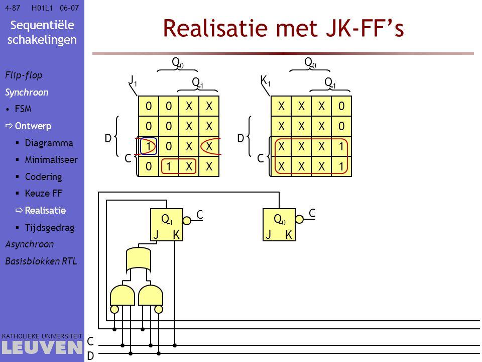 Sequentiële schakelingen KATHOLIEKE UNIVERSITEIT 4-8706–07H01L1 Realisatie met JK-FF's J1J1 Q0Q0 Q1Q1 C D K1K1 Q0Q0 Q1Q1 C D Q1Q1 JK Q0Q0 JK CDCD 00XX