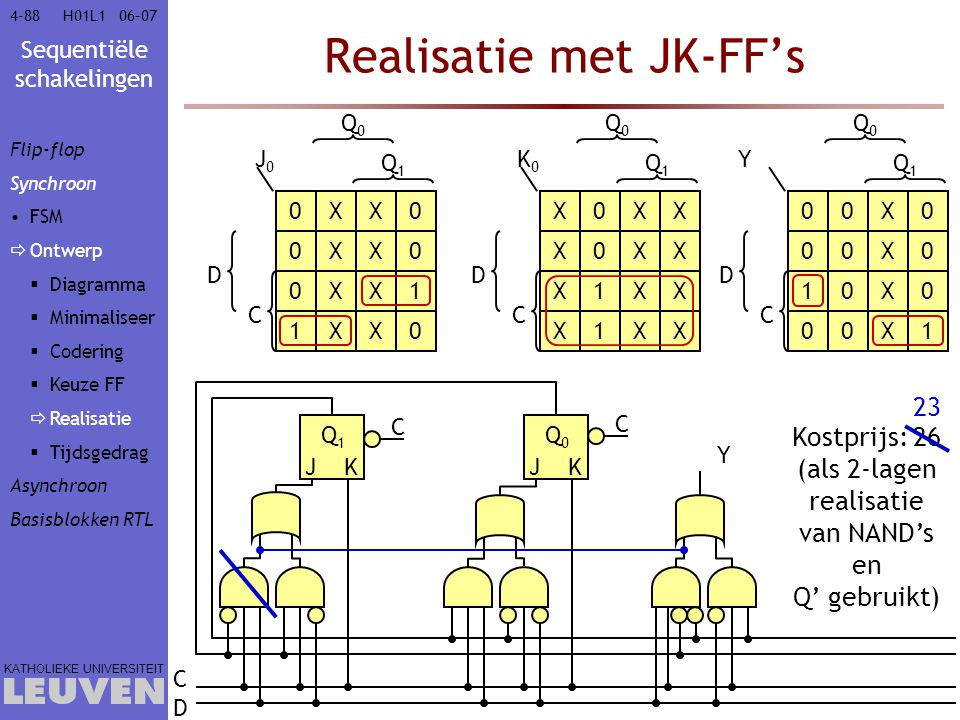 Sequentiële schakelingen KATHOLIEKE UNIVERSITEIT 4-8806–07H01L1 Realisatie met JK-FF's J0J0 Q0Q0 Q1Q1 C D K0K0 Q0Q0 Q1Q1 C D 0XX0 0XX0 0XX1 1XX0 X0XX