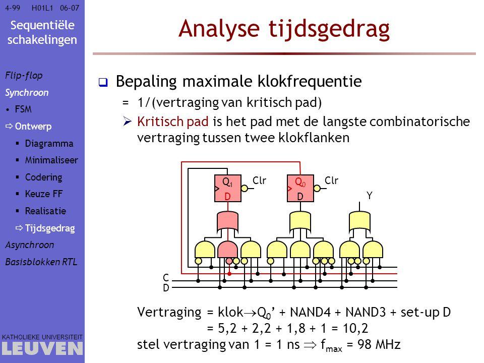 Sequentiële schakelingen KATHOLIEKE UNIVERSITEIT 4-9906–07H01L1 Analyse tijdsgedrag  Bepaling maximale klokfrequentie =1/(vertraging van kritisch pad