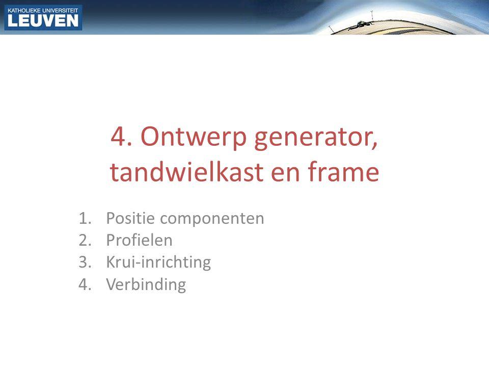 1.Positie componenten 2 onbekenden – Lengte hoofdas – Positie van tandwielkast tov.