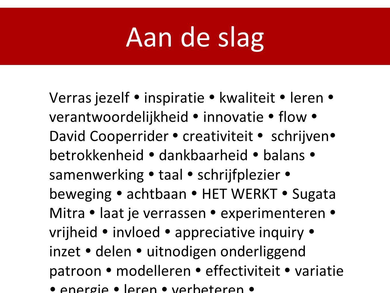 Aan de slag Verras jezelf  inspiratie  kwaliteit  leren  verantwoordelijkheid  innovatie  flow  David Cooperrider  creativiteit  schrijven 