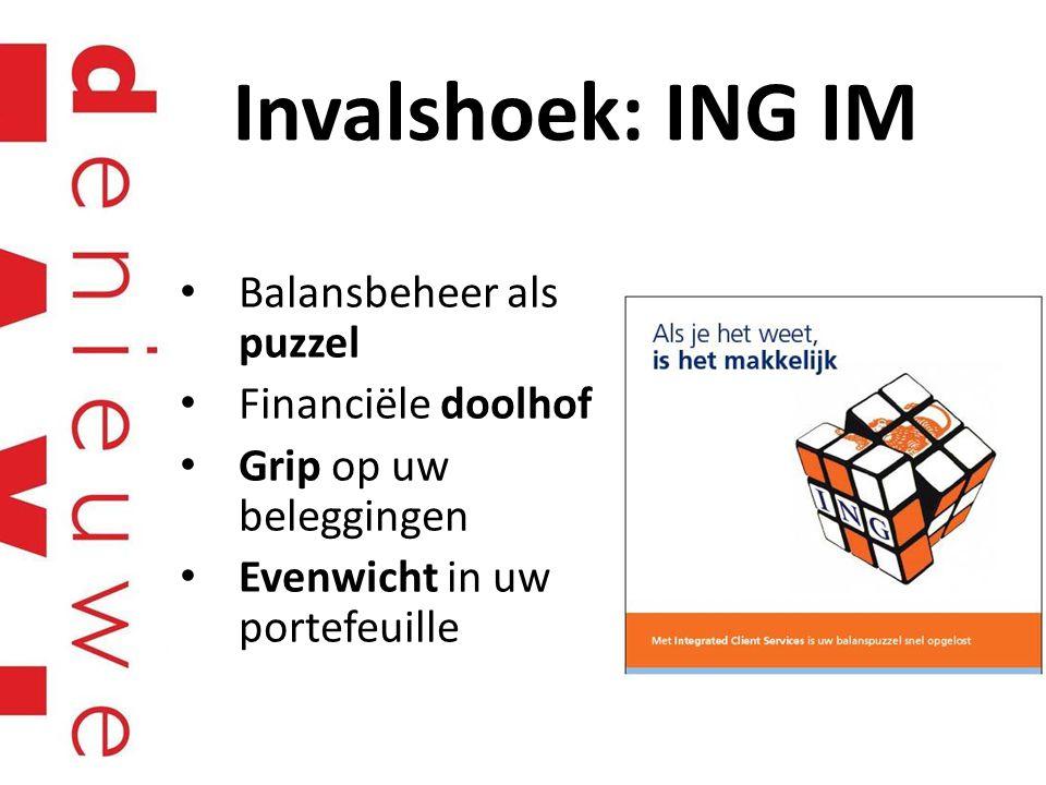 Invalshoek: ING IM Balansbeheer als puzzel Financiële doolhof Grip op uw beleggingen Evenwicht in uw portefeuille