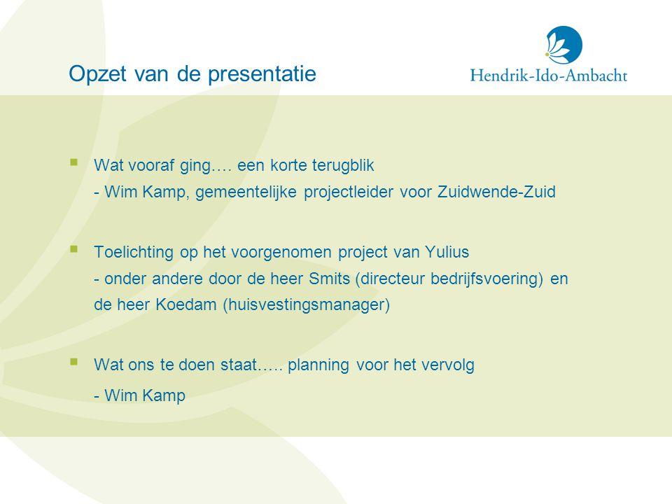 Opzet van de presentatie  Wat vooraf ging…. een korte terugblik - Wim Kamp, gemeentelijke projectleider voor Zuidwende-Zuid  Toelichting op het voor