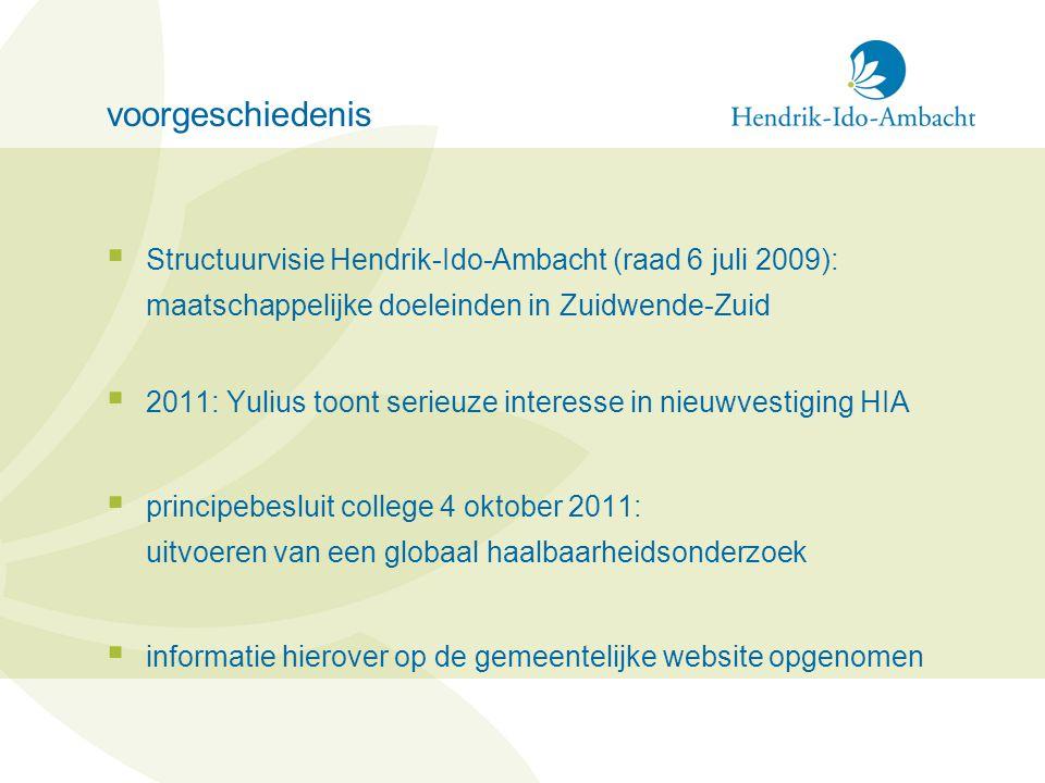 voorgeschiedenis  Structuurvisie Hendrik-Ido-Ambacht (raad 6 juli 2009): maatschappelijke doeleinden in Zuidwende-Zuid  2011: Yulius toont serieuze