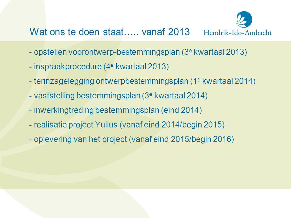 Wat ons te doen staat….. vanaf 2013 - opstellen voorontwerp-bestemmingsplan (3 e kwartaal 2013) - inspraakprocedure (4 e kwartaal 2013) - terinzageleg