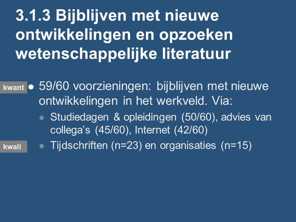 3.1.3 Bijblijven met nieuwe ontwikkelingen en opzoeken wetenschappelijke literatuur 59/60 voorzieningen: bijblijven met nieuwe ontwikkelingen in het werkveld.