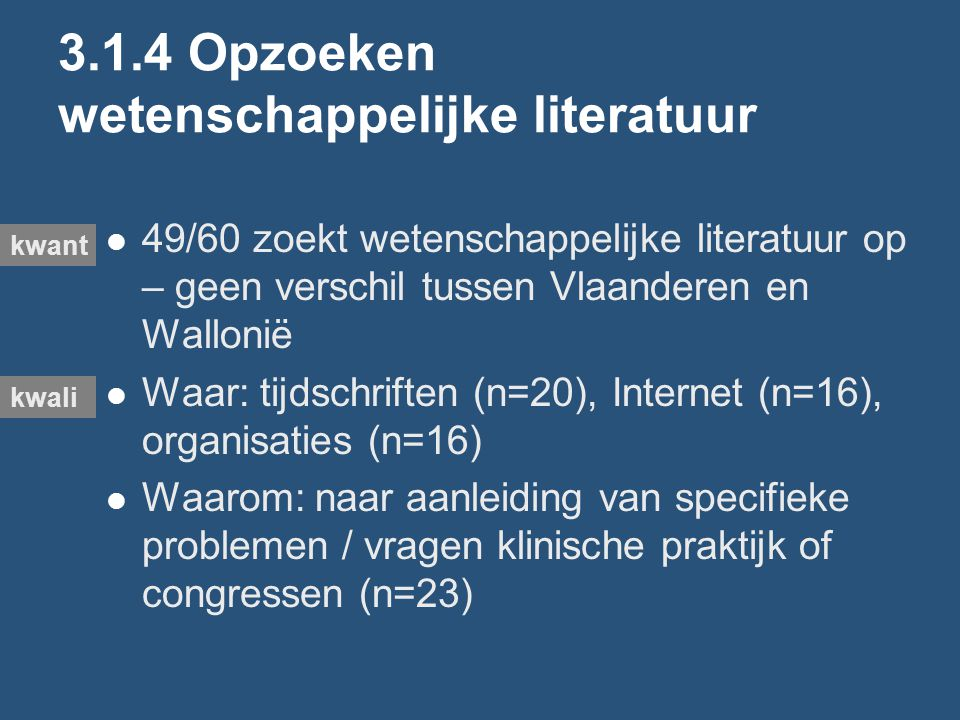 3.1.4 Opzoeken wetenschappelijke literatuur 49/60 zoekt wetenschappelijke literatuur op – geen verschil tussen Vlaanderen en Wallonië Waar: tijdschriften (n=20), Internet (n=16), organisaties (n=16) Waarom: naar aanleiding van specifieke problemen / vragen klinische praktijk of congressen (n=23) kwant kwali