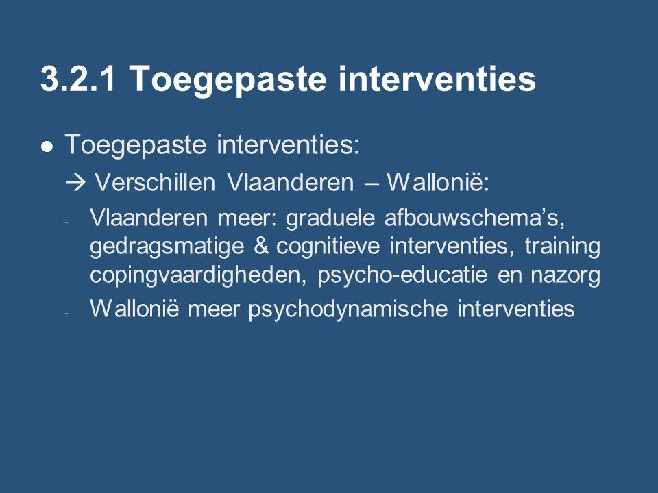 3.2.1 Toegepaste interventies Toegepaste interventies:  Verschillen Vlaanderen – Wallonië: - Vlaanderen meer: graduele afbouwschema's, gedragsmatige & cognitieve interventies, training copingvaardigheden, psycho-educatie en nazorg - Wallonië meer psychodynamische interventies