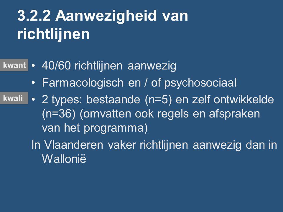3.2.2 Aanwezigheid van richtlijnen 40/60 richtlijnen aanwezig Farmacologisch en / of psychosociaal 2 types: bestaande (n=5) en zelf ontwikkelde (n=36) (omvatten ook regels en afspraken van het programma) In Vlaanderen vaker richtlijnen aanwezig dan in Wallonië kwant kwali