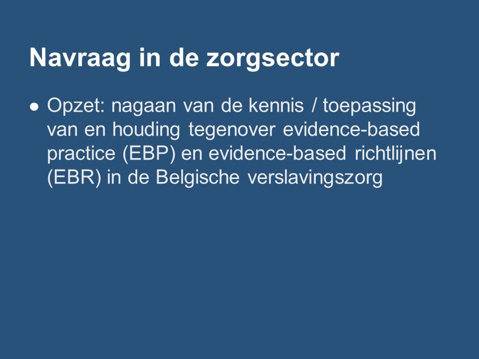 Navraag in de zorgsector Opzet: nagaan van de kennis / toepassing van en houding tegenover evidence-based practice (EBP) en evidence-based richtlijnen (EBR) in de Belgische verslavingszorg