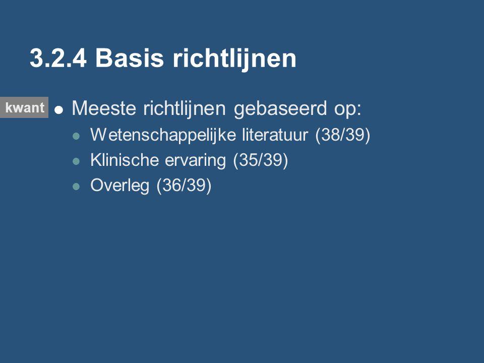 3.2.4 Basis richtlijnen Meeste richtlijnen gebaseerd op: Wetenschappelijke literatuur (38/39) Klinische ervaring (35/39) Overleg (36/39) kwant
