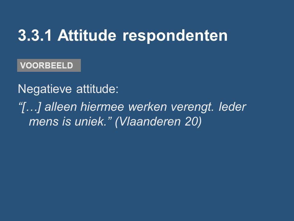 """3.3.1 Attitude respondenten Negatieve attitude: """"[…] alleen hiermee werken verengt. Ieder mens is uniek."""" (Vlaanderen 20) VOORBEELD"""