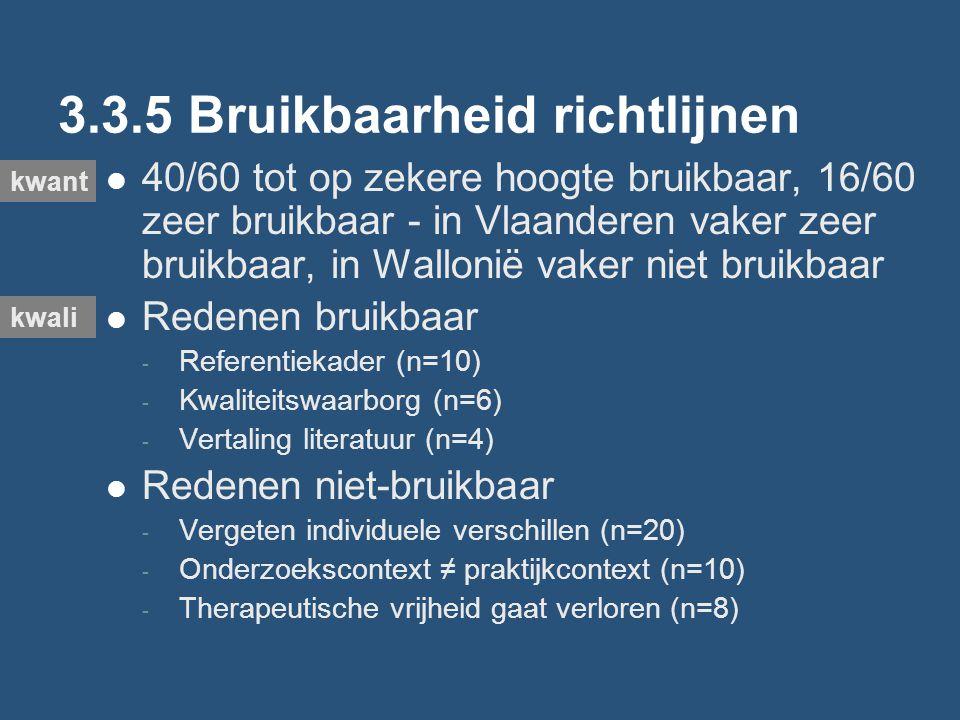 3.3.5 Bruikbaarheid richtlijnen 40/60 tot op zekere hoogte bruikbaar, 16/60 zeer bruikbaar - in Vlaanderen vaker zeer bruikbaar, in Wallonië vaker niet bruikbaar Redenen bruikbaar - Referentiekader (n=10) - Kwaliteitswaarborg (n=6) - Vertaling literatuur (n=4) Redenen niet-bruikbaar - Vergeten individuele verschillen (n=20) - Onderzoekscontext ≠ praktijkcontext (n=10) - Therapeutische vrijheid gaat verloren (n=8) kwant kwali