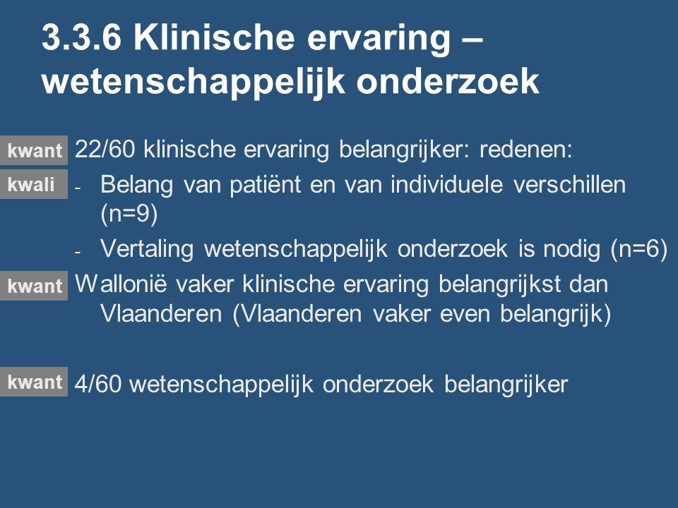 3.3.6 Klinische ervaring – wetenschappelijk onderzoek 22/60 klinische ervaring belangrijker: redenen: - Belang van patiënt en van individuele verschillen (n=9) - Vertaling wetenschappelijk onderzoek is nodig (n=6) Wallonië vaker klinische ervaring belangrijkst dan Vlaanderen (Vlaanderen vaker even belangrijk) 4/60 wetenschappelijk onderzoek belangrijker kwali kwant