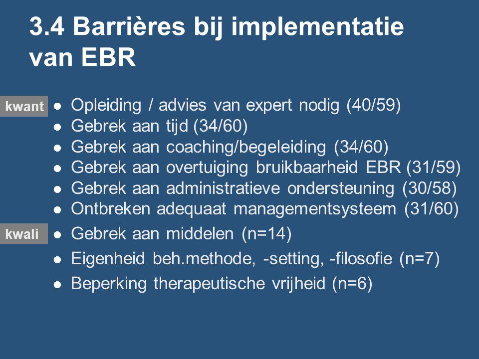 3.4 Barrières bij implementatie van EBR Opleiding / advies van expert nodig (40/59) Gebrek aan tijd (34/60) Gebrek aan coaching/begeleiding (34/60) Gebrek aan overtuiging bruikbaarheid EBR (31/59) Gebrek aan administratieve ondersteuning (30/58) Ontbreken adequaat managementsysteem (31/60) Gebrek aan middelen (n=14) Eigenheid beh.methode, -setting, -filosofie (n=7) Beperking therapeutische vrijheid (n=6) kwant kwali