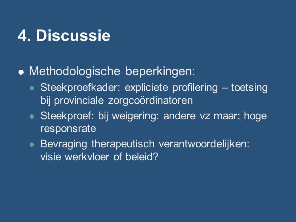 4. Discussie Methodologische beperkingen: Steekproefkader: expliciete profilering – toetsing bij provinciale zorgcoördinatoren Steekproef: bij weigeri