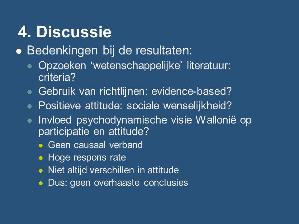 4. Discussie Bedenkingen bij de resultaten: Opzoeken 'wetenschappelijke' literatuur: criteria? Gebruik van richtlijnen: evidence-based? Positieve atti