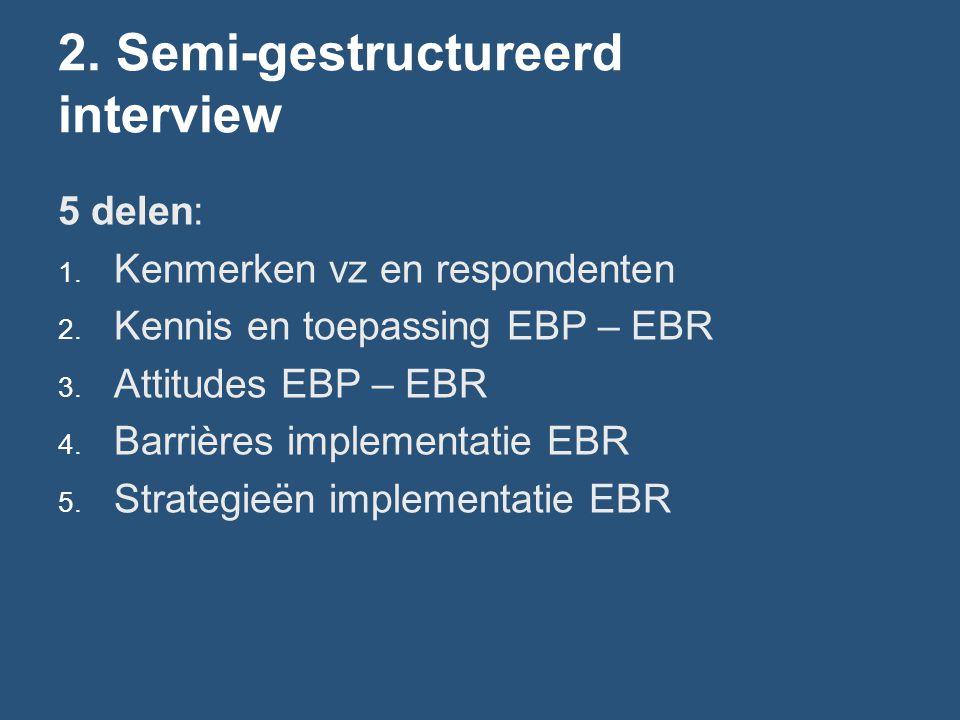 2. Semi-gestructureerd interview 5 delen: 1. Kenmerken vz en respondenten 2. Kennis en toepassing EBP – EBR 3. Attitudes EBP – EBR 4. Barrières implem