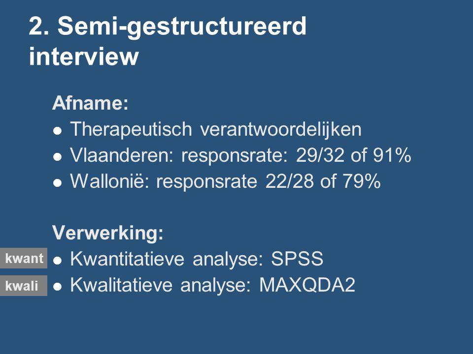 2. Semi-gestructureerd interview Afname: Therapeutisch verantwoordelijken Vlaanderen: responsrate: 29/32 of 91% Wallonië: responsrate 22/28 of 79% Ver
