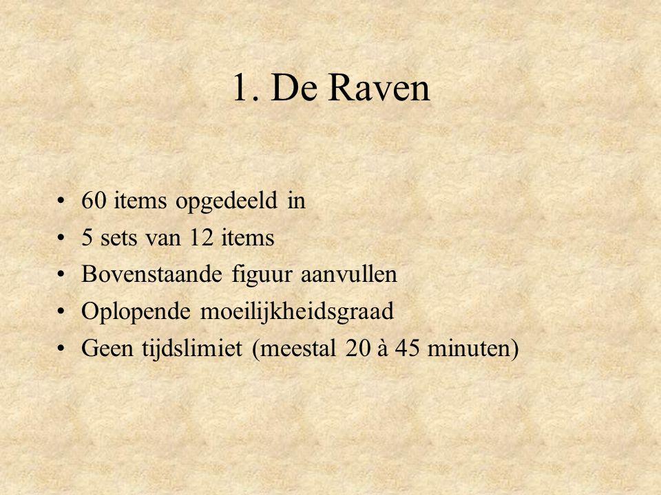 1. De Raven 60 items opgedeeld in 5 sets van 12 items Bovenstaande figuur aanvullen Oplopende moeilijkheidsgraad Geen tijdslimiet (meestal 20 à 45 min